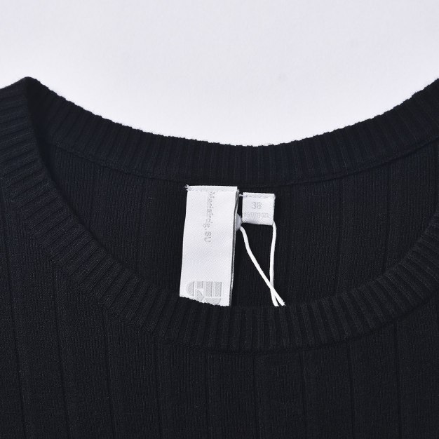 Black Round Neck Cropped Sleeve 3/4 Length Mermaid Women's Dress