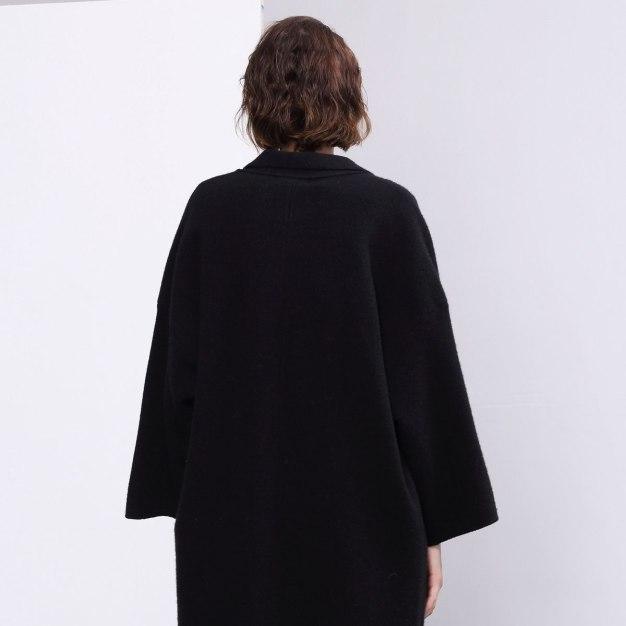 Black Plain V Neck Long Sleeve Loose Women's Coat