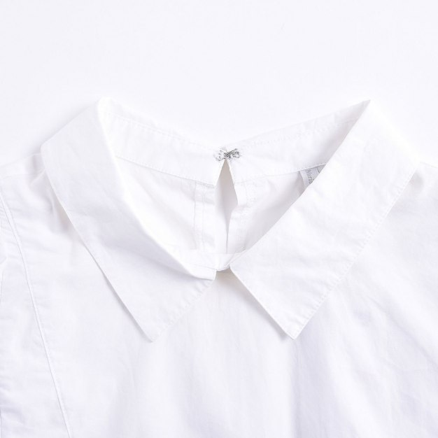 White Plain Shirt Collar  Sleeveless Women's Shirt