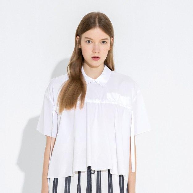 White Plain Stand Collar Short Sleeve Standard Women's T-Shirt