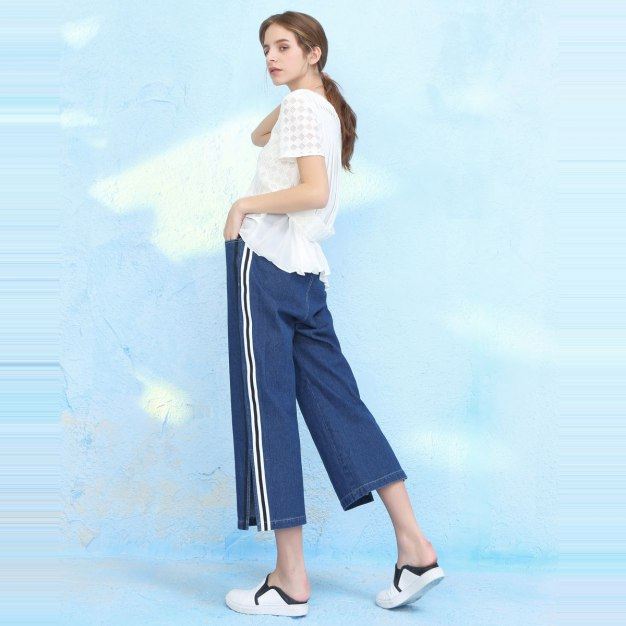 Blue Cropped Women's Pants