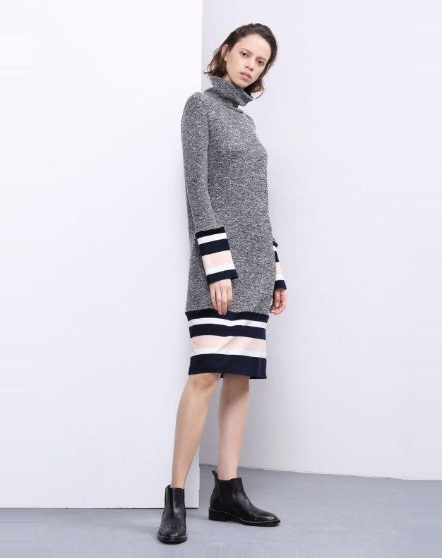 Gray Half High Collar Long Sleeve 3/4 Length Women's Dress