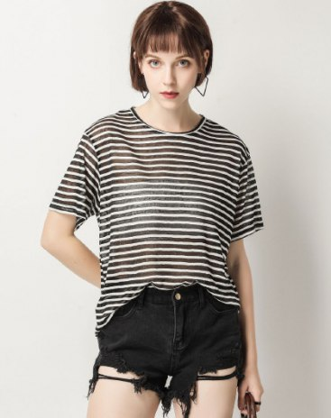 Black Stripes Round Neck Short Sleeve Loose Women's T-Shirt