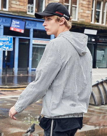 Gray Stripes Regular Collar Long Sleeve Standard Men's Shirt