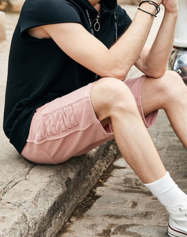 Pink Drawstring Type Light Elastic CroppedPants Men's Pants