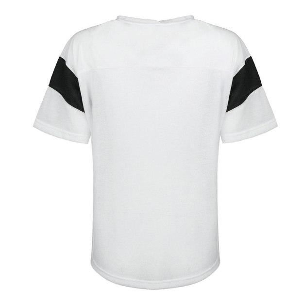 화이트 반팔 표준 여성 티셔츠